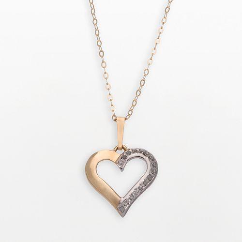 Diamond Fascination® 14k Gold Open-Heart Pendant