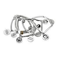 Star Wars: Episode VII The Force Awakens Stainless Steel Rey Charm Stretch Bracelet Set
