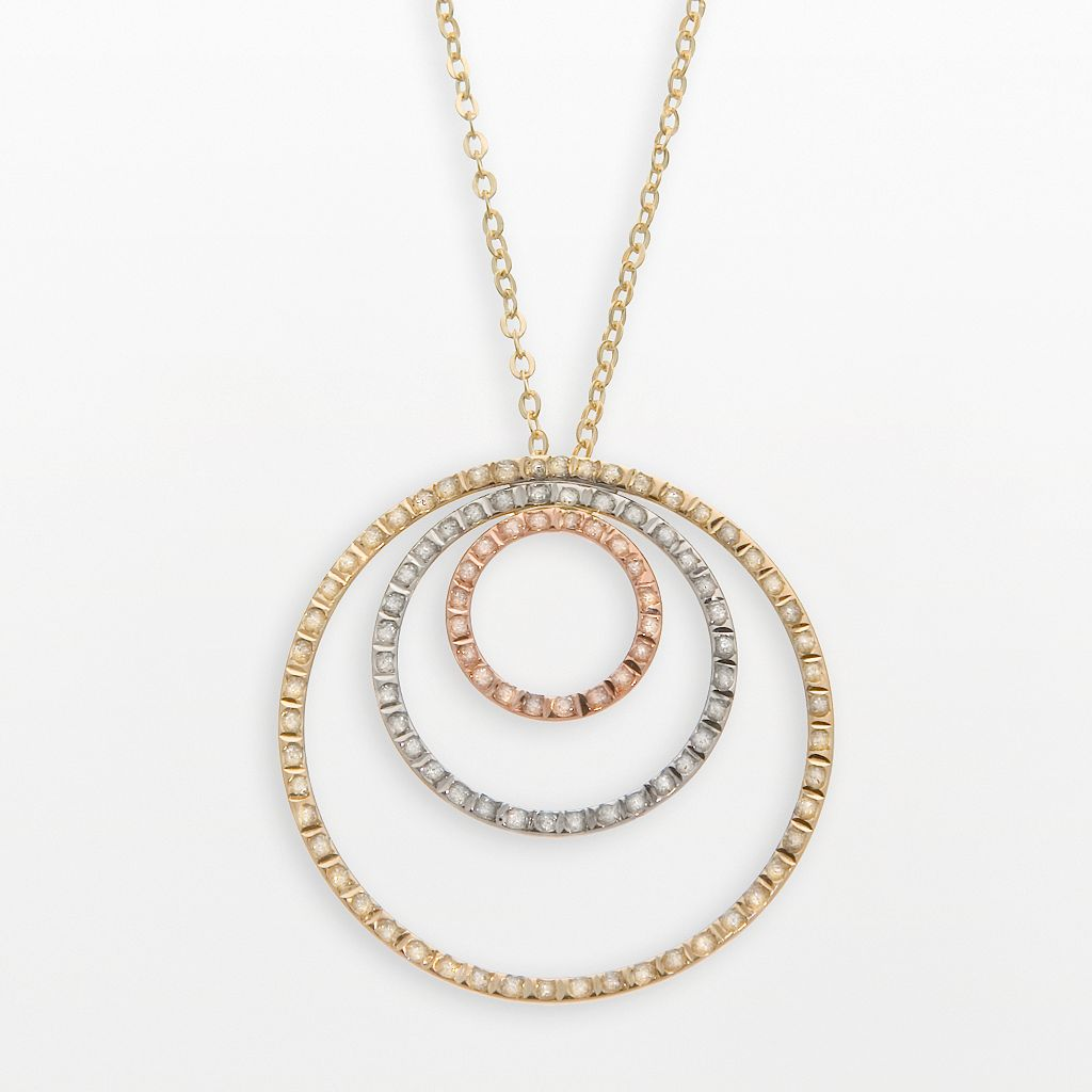 Diamond Fascination® 14k Gold Tri-Tone Circle Pendant