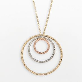 Diamond Fascination 14k Gold Tri-Tone Circle Pendant