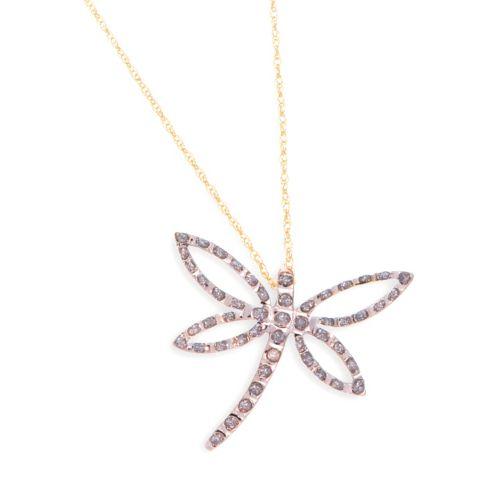 Diamond Fascination 14k Gold Dragonfly Pendant