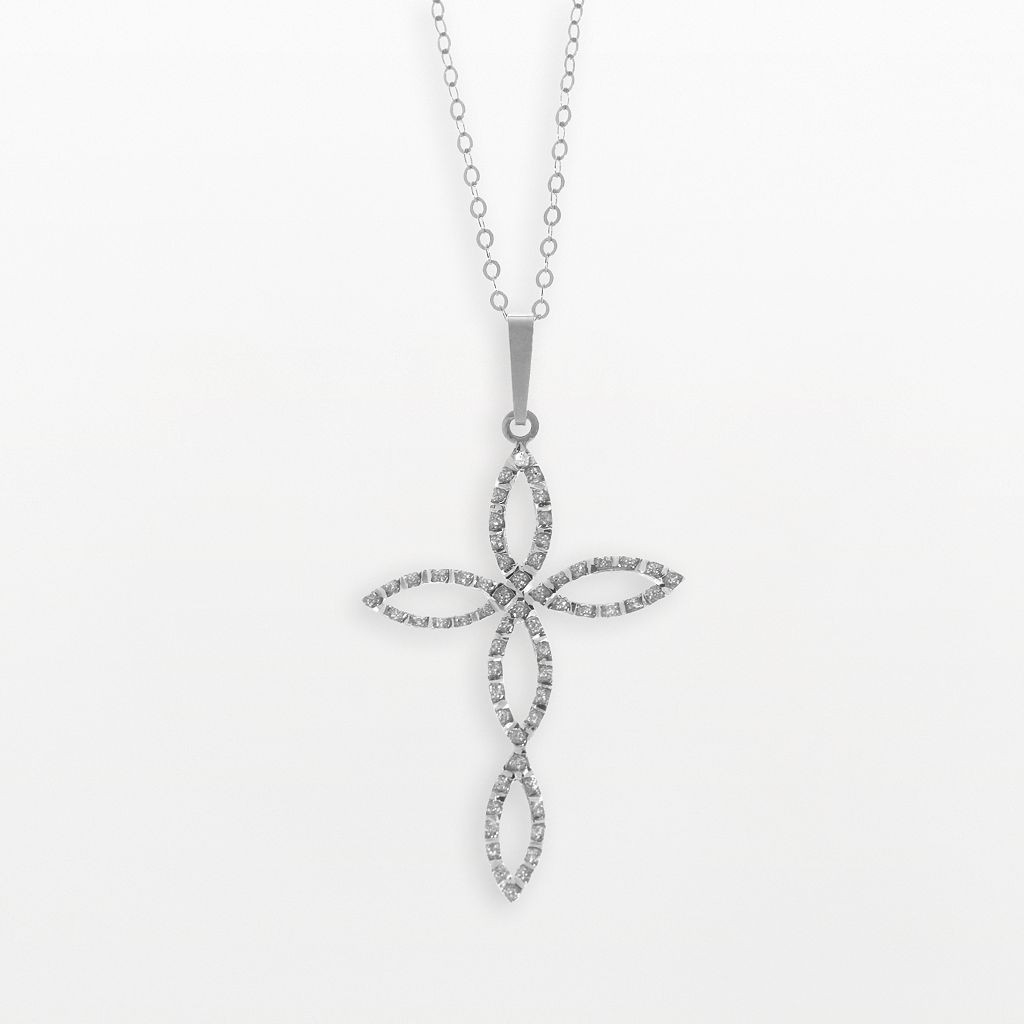 Diamond Fascination® 14k White Gold Cross Pendant