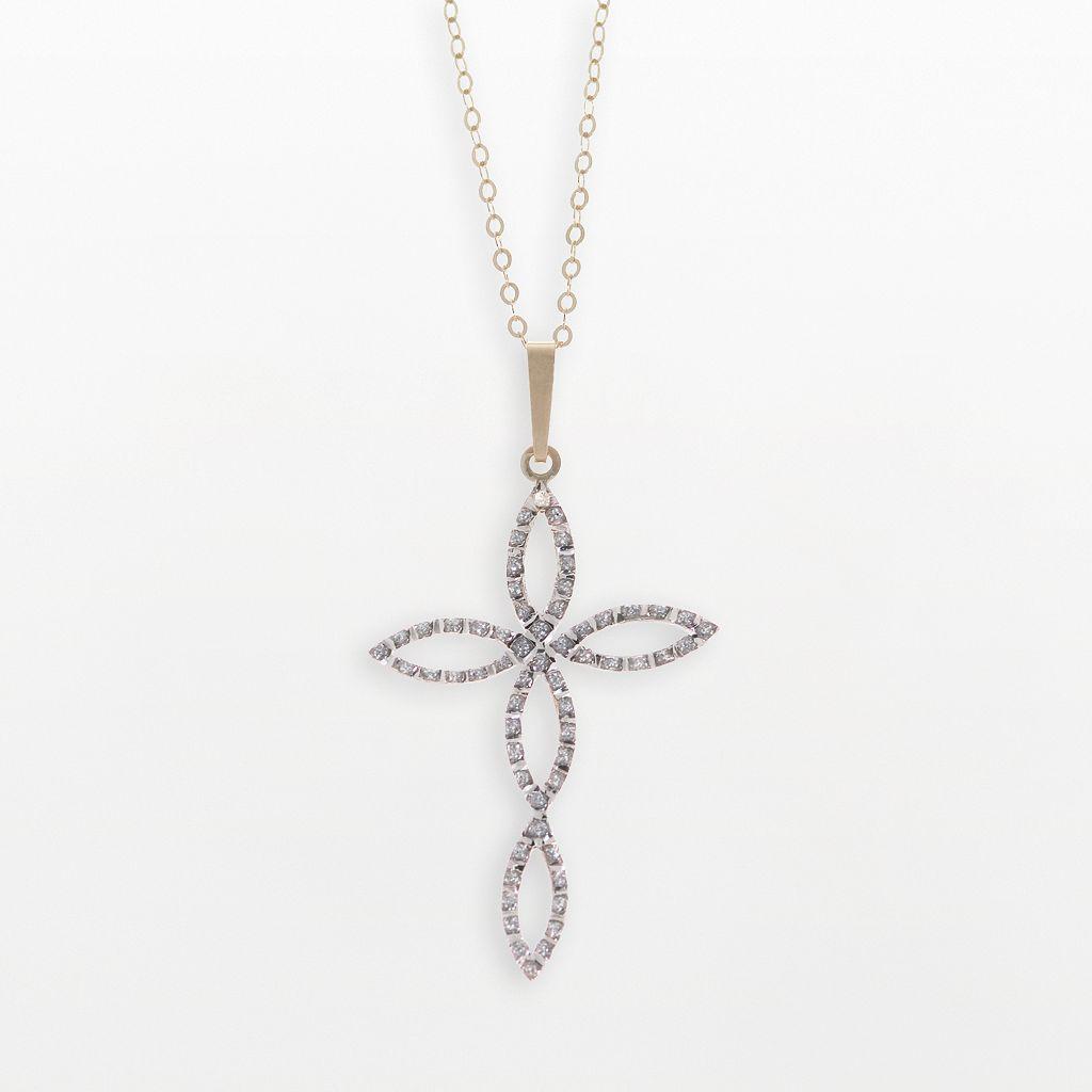 Diamond Fascination® 14k Gold Cross Pendant