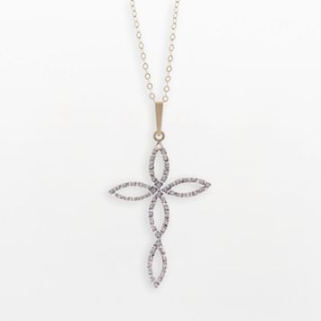 Diamond Fascination® 14k Gold Cross Pendant