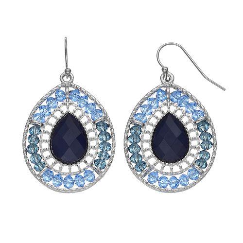 Blue Beaded Teardrop Earrings