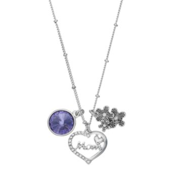 """Charming Inspirations """"Mom"""" Heart & Flower Charm Necklace"""
