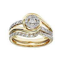 Cherish Always 10k Gold 1/3 Carat T.W. Certified Diamond Halo Engagement Ring Set