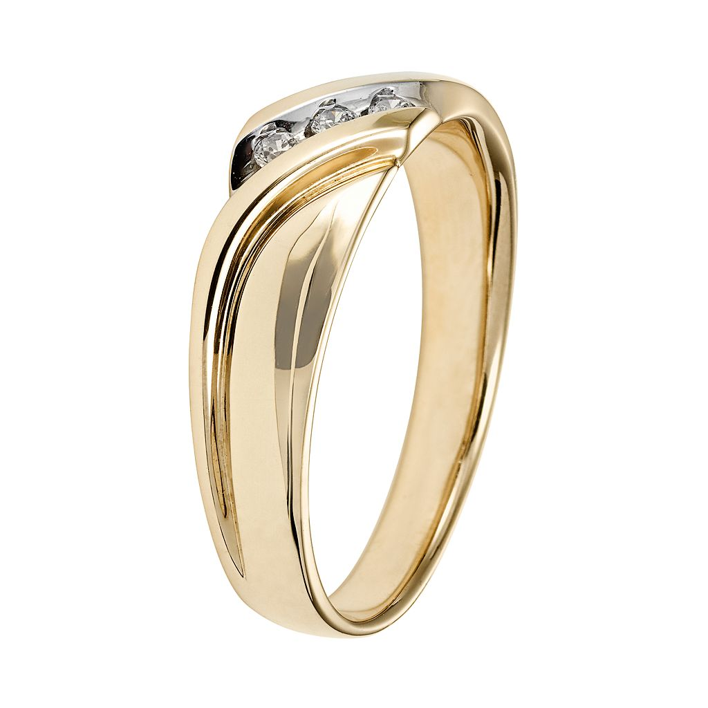 Cherish Always Men's 10k Gold 1/10 Carat T.W. Certified Diamond Wedding Band