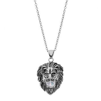 FOCUS FOR MEN Stainless Steel Lion Head Pendant Necklace
