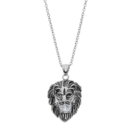 FOCUS FOR MEN Stainless Steel Lion Head Pendant Necklace