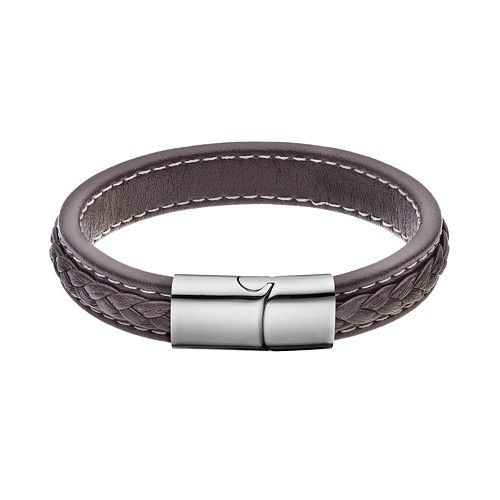 FOCUS FOR MEN Stainless Steel & Brown Faux Leather Braided Bracelet