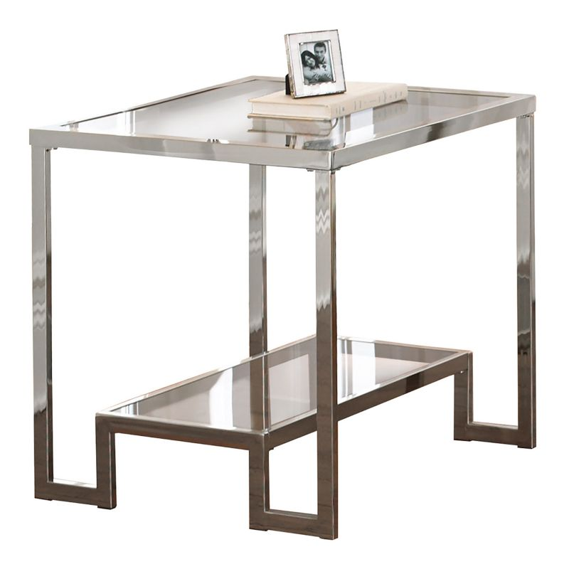 Churchill Glass End Table, Silver