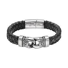 FOCUS FOR MEN Stainless Steel & Black Leather Braided Tribal Bracelet