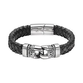 FOCUS FOR MEN Stainless Steel & Black Leather Braided Tribal Bracelet