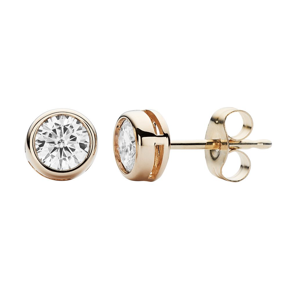 Forever Brilliant 14k Gold 3/8 Carat T.W. Lab-Created Moissanite Stud Earrings
