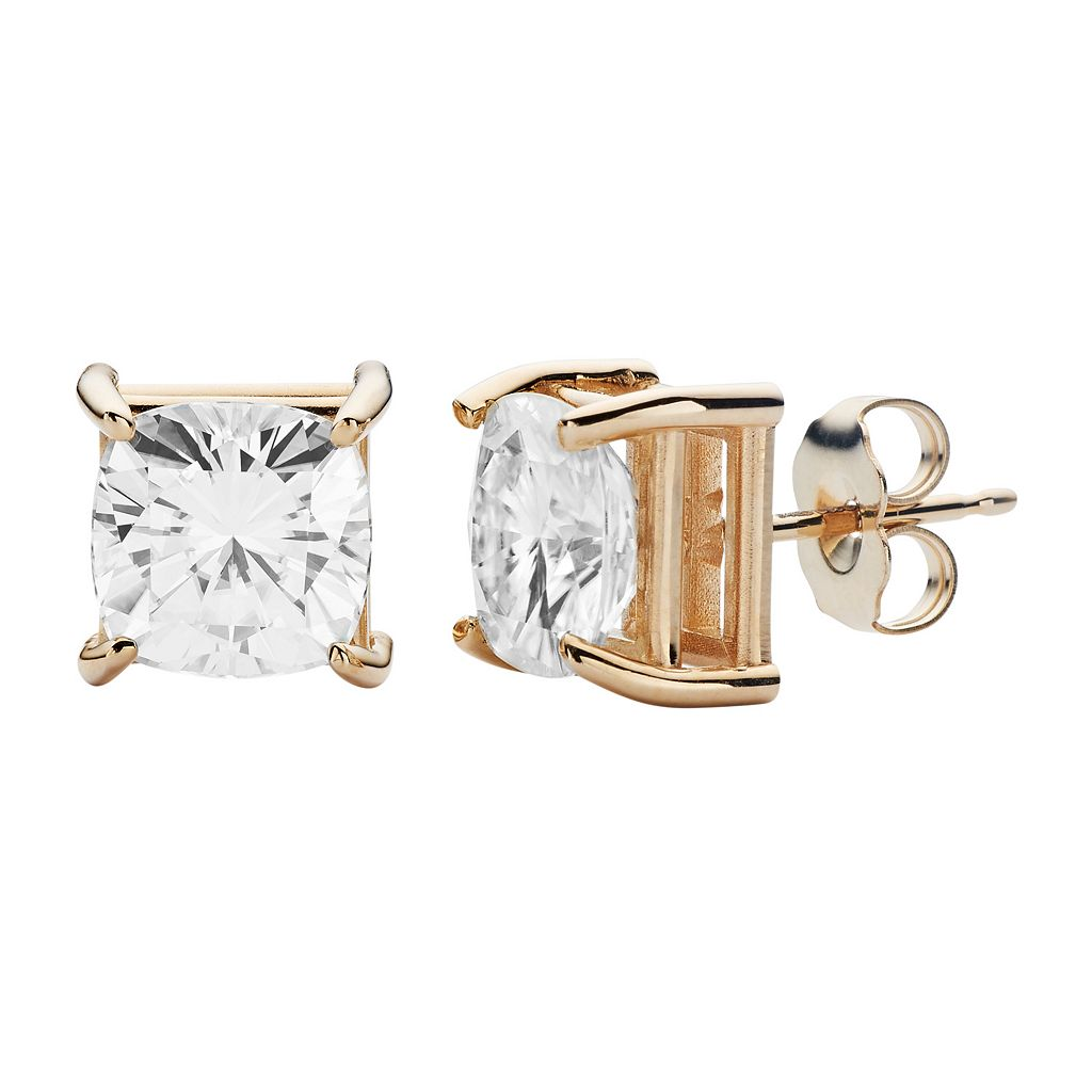 Forever Brilliant 14k Gold 4 Carat T.W. Lab-Created Moissanite Stud Earrings