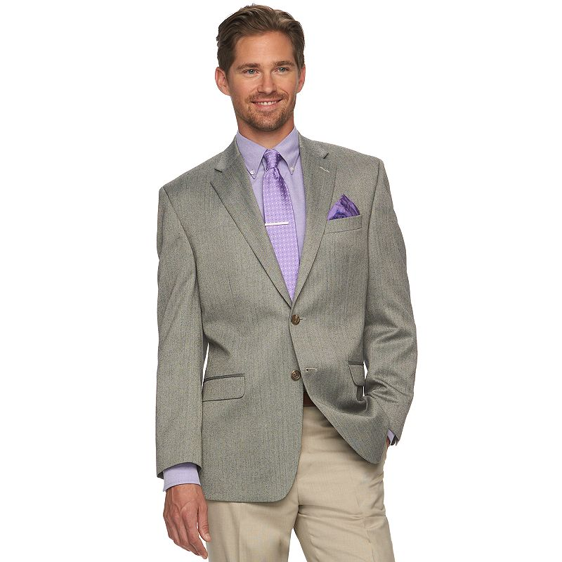 Men's Chaps Classic-Fit Gray Herringbone Suit Jacket