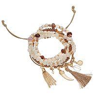 Coin, Horn & Tassel Charm Bracelet Set