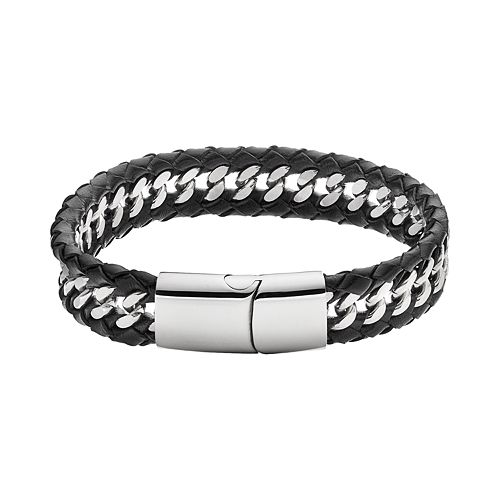 FOCUS FOR MEN Stainless Steel & Black Leather Woven Bracelet