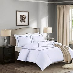 Madison Park Signature 1000 Thread Count Embroidered Cotton 4 pc Duvet Cover Set