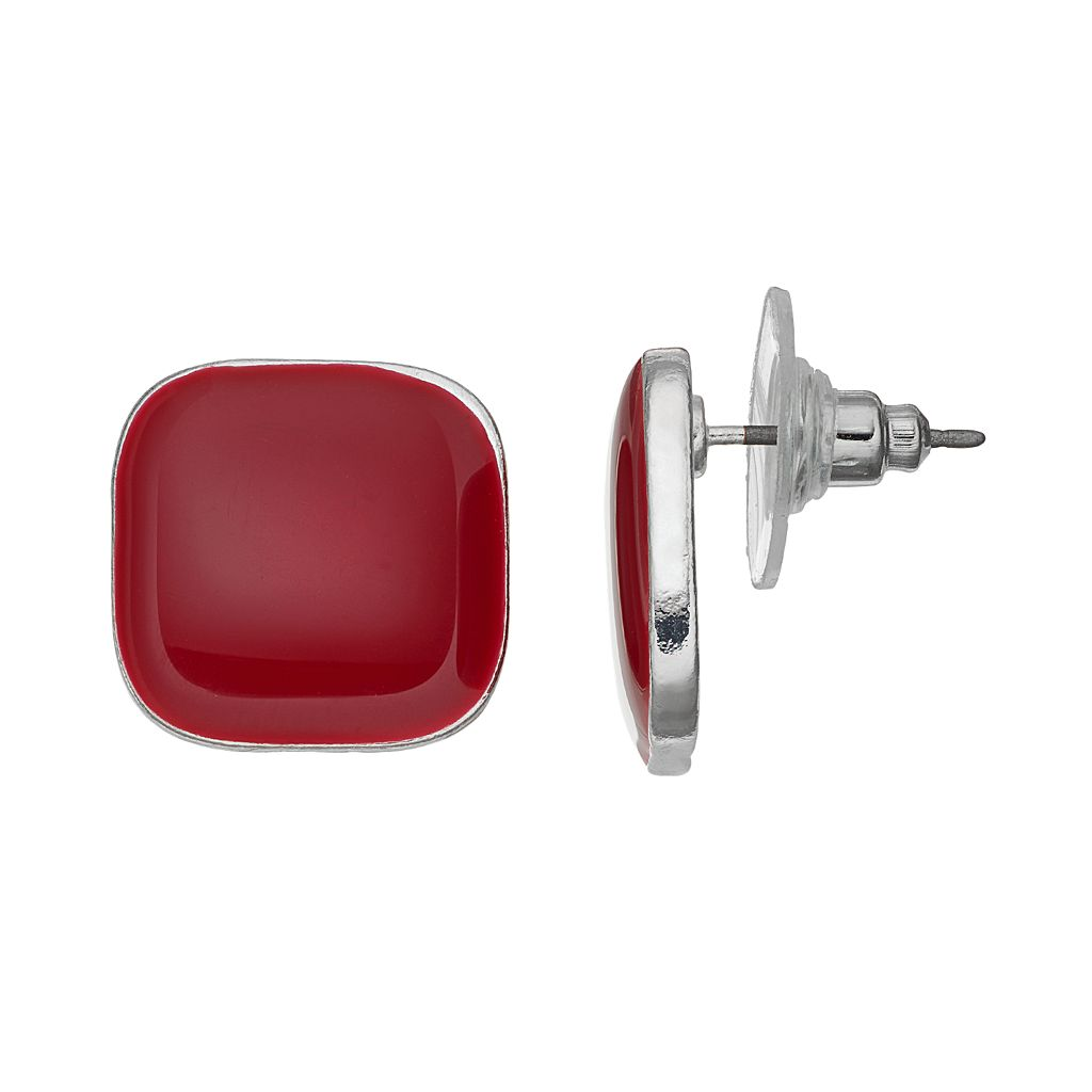 Red Square Stud Earrings