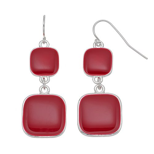 Red Square Double Drop Earrings