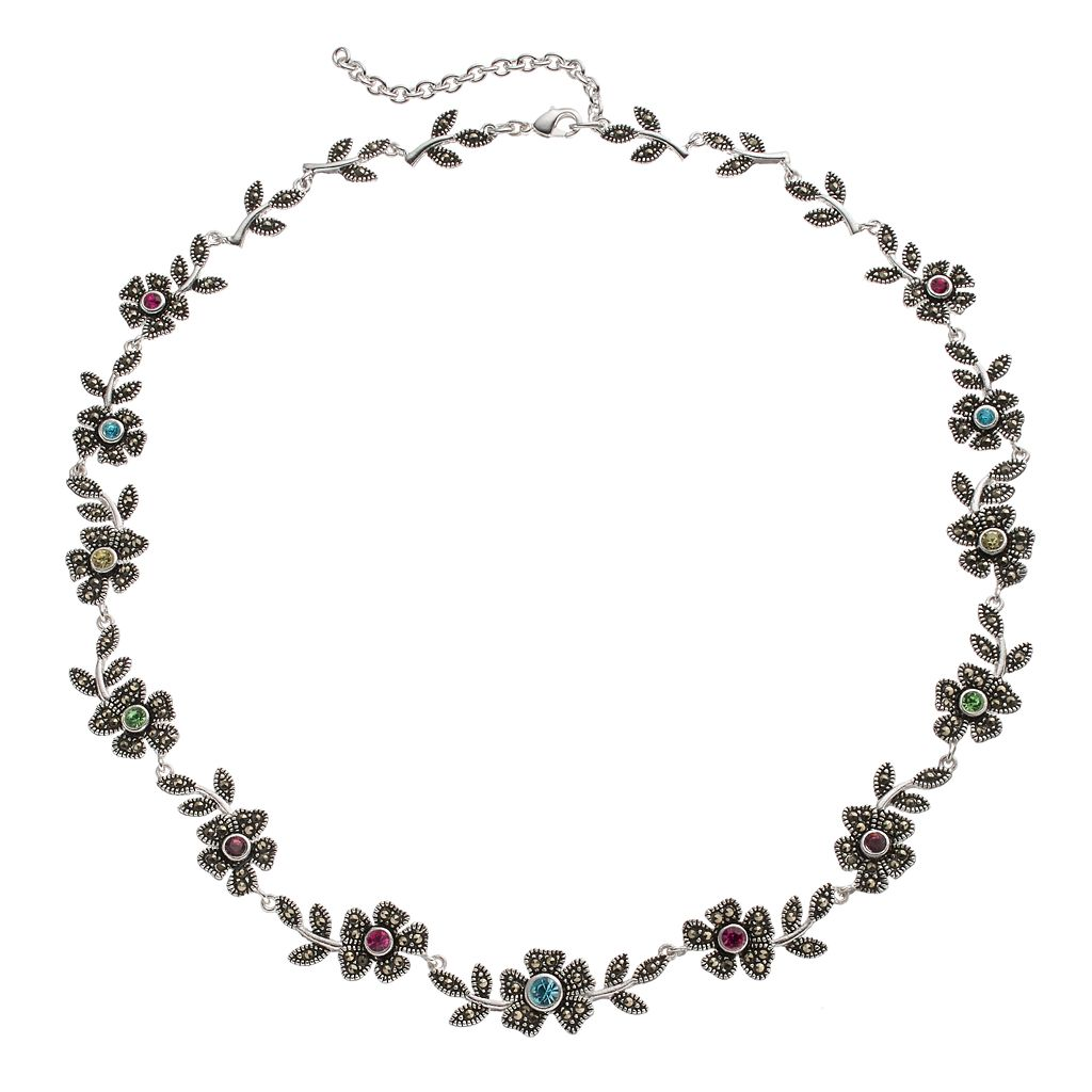 Le Vieux Silver Plated Crystal & Marcasite Flower Necklace