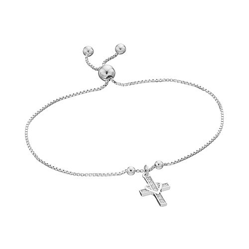 Sterling Silver 1/10 Carat T.W. Diamond Cross Charm Lariat Bracelet