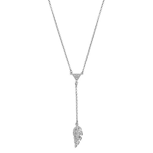 Sterling Silver 1/10 Carat T.W. Diamond Leaf Y Necklace