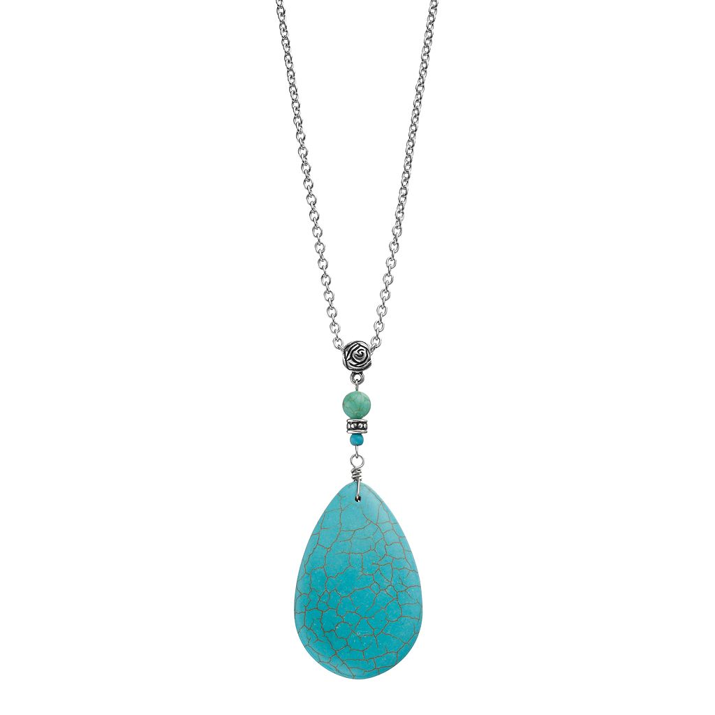 Long Simulated Turquoise Teardrop Necklace