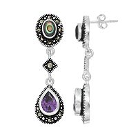 Le Vieux Silver Plated Abalone, Cubic Zirconia & Marcasite Drop Earrings