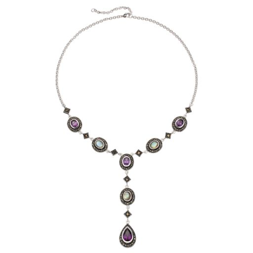 Le Vieux Silver Plated Abalone, Cubic Zirconia & Marcasite Y Necklace