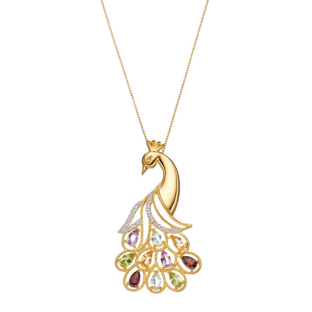 18k Gold Over Silver Gemstone & 1/10 Carat T.W. Diamond Peacock Pendant