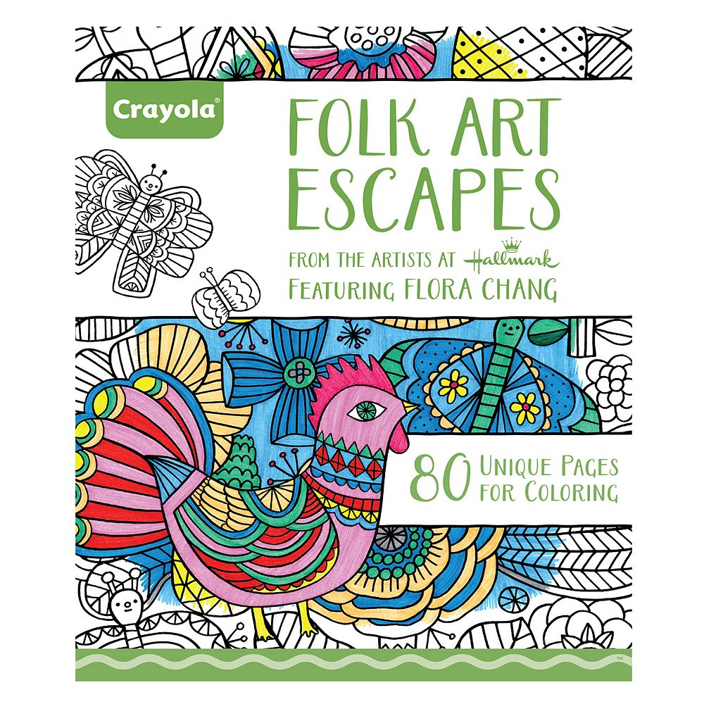Coloring books for adults kohls - Crayola Folk Art Escapes Adult Coloring Book