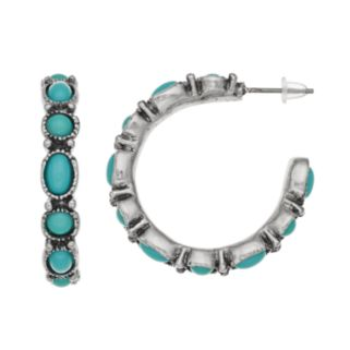 Teal Cabochon Circle & Oval Hoop Earrings