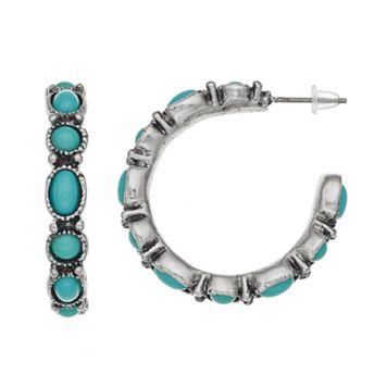 Teal Cabochon Circle & Oval Hoop Earrings