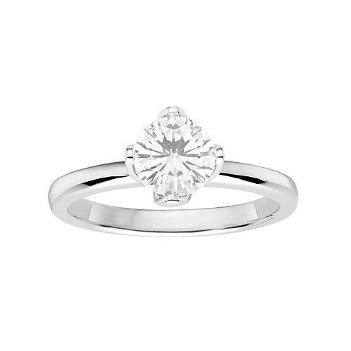 Forever Brilliant 14k White Gold 1 Carat T.W. Lab-Created Moissanite Solitaire Engagement Ring