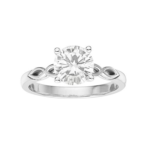 Forever Brilliant 14k White Gold 1 1/2 Carat T.W. Lab-Created Moissanite Solitaire Engagement Ring