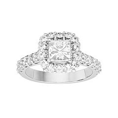 Forever Brilliant 14k White Gold 2 Carat T.W. Lab-Created Moissanite Square Halo Engagement Ring