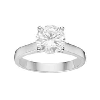 Forever Brilliant 14k White Gold 2 Carat T.W. Lab-Created Moissanite Solitaire Engagement Ring