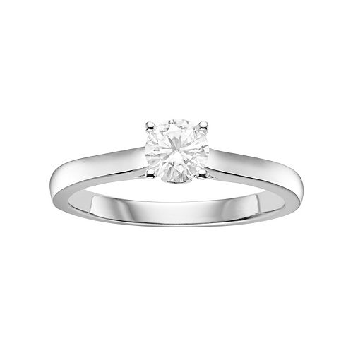 Forever Brilliant 14k White Gold 1/2 Carat T.W. Lab-Created Moissanite Solitaire Engagement Ring