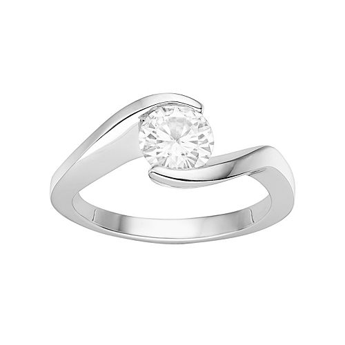 Forever Brilliant 14k White Gold 1 Carat T.W. Lab-Created Moissanite Bypass Solitaire Engagement Ring
