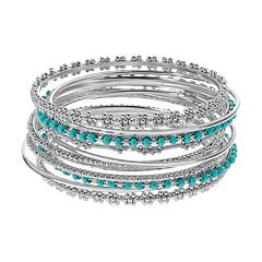 Textured Teal Bead Bangle Bracelet Set