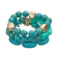 Simulated Turquoise Beaded Stretch Bracelet Set