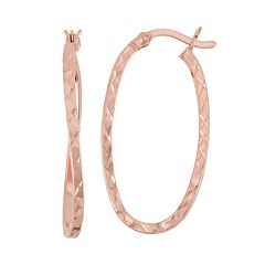 14k Rose Gold Over Silver Twist Oval Hoop Earrings