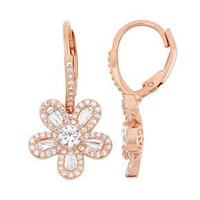 14k Rose Gold Over Silver Flower Drop Earrings