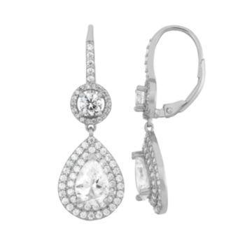 Sterling Silver Cubic Zirconia Teardrop Halo Earrings
