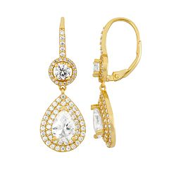 14k Gold Over Silver Cubic Zirconia Teardrop Halo Earrings