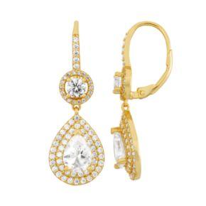 14k Gold Over Silver Cubic Zirconia Teardrop Halo Earrings