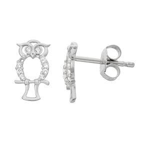Junior Jewels Kids' Sterling Silver Cubic Zirconia Owl Stud Earrings